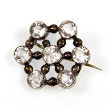 Antique Georgian 9K Gold Diamond Paste Brooch Pin