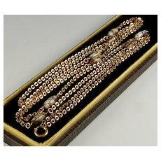 Antique Victorian Gold Filled Venetian Glass Guard Chain