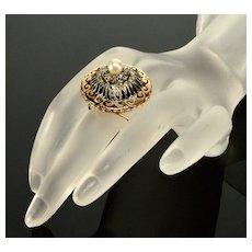 Antique Ewardian Belle Epoque French 18K Rose Gold Diamond Ring C. 1900's Size 6