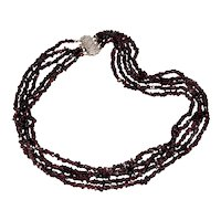 Antique Art Deco 14K White Gold Boheman Garnet Bead Necklace Chocker 5-Strand
