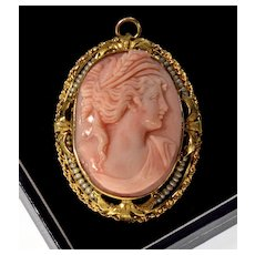 Antique Victorian 10K Italian Pink Coral Seed Pearl Cameo Pendant Brooch