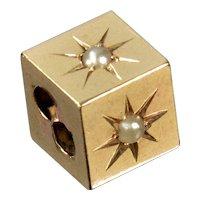 Antique Victorian 14K Gold Pearls Cube Slide Charm For Bracelet 002064