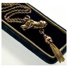 Antique Victorian 10K Dog Tassel Pendant Necklace