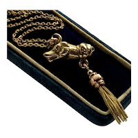 Antique Victorian 10K Dog Tassel Pendant Necklace