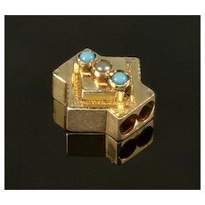 Antique Victorian 14K Rose Gold Turquoise Pearl Slide Charm For Bracelet 002066