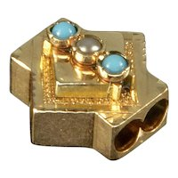 Antique Victorian 14K Rose Gold Turquoise Pearl Slide Charm For Bracelet 002066