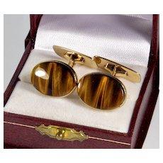 Antique Edwardian 9K Tiger Eye Cufflinks Cuff Links