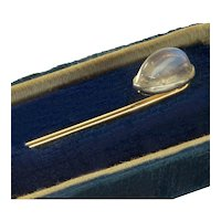 Antique Edwardian 18K Platina Moonstone Stick Pin Stickpin Tie Pin Tiepin