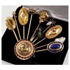 Antique Victorian 14K Stick Pin Bouquet Brooch Diamond Chrysoberil Cat's Eye Lapis Ruby Etc.