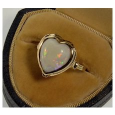 Art Deco 14K Australian Opal Heart RIng Size 6