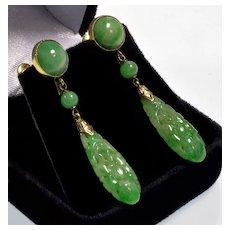 Art Deco 14K Jadeite Jade Dangle Earrings Hand Carved