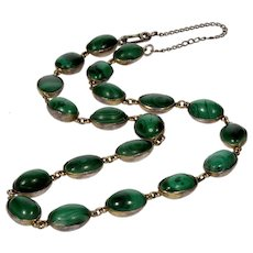Antique Georgian Russian Malachite Sterling Close Back Riviere Necklace C. 1800