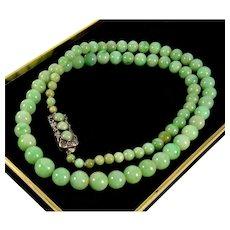 "Antique Art Deco Jadeite Jade Bead Necklace 22 1/2"", Sterling Clasp"