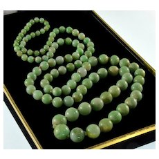 Antique Victorian Jadeite Jade Bead Necklace 32""