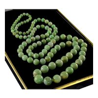 "Antique Victorian Jadeite Jade Bead Necklace 32"""