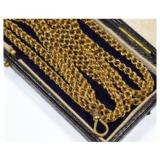 Antique Victorian 10K Gold Double Link Guard Chain Necklace