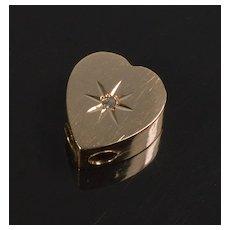 Antique Victorian 10K Rose Gold Diamond Heart Slide Charm For Bracelet 002169