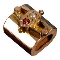 Antique Victorian 14K Rose Gold Garnet Pearl Fancy Slide Charm For Bracelet 002170