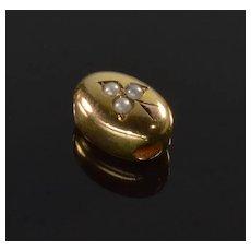 Antique Victorian 14K Rose Gold Pearl Oval Slide Charm For Bracelet 002171