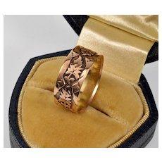 Antique Victorian  9K Rose Gold Carved Band Wedding RIng Size 6 1/2