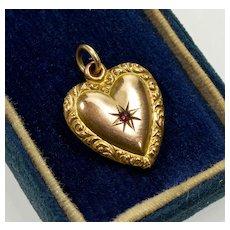 Antique Victorian  10K Garnet Sweet Heart Sweetheart Pendant