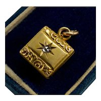 Antique Victorian 14K Gold Diamond Locket Pendant Repousse