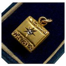 Antique Victorian 14K Gold Diamond Locket Pendant Repousse