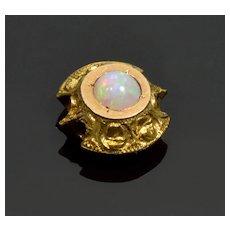 Antique Victorian 9K Gold Opal Repousse Slide Charm For Bracelet 002183