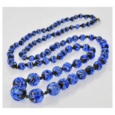 Antique Art Deco Venetian Czech Bohemian Periwinkle Foil Glass Necklace Flapper
