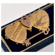 Antique Victorian 9K Gold Double Heart Mizpah Padlock Key Swallow Brooch Pin C. 1900's