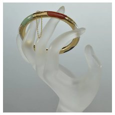 Vtg 50's 14K Gold Multi Color Jadeite Jade Bangle Bracelet