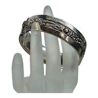 Antique Victorian Enamel High Relief Sterling Floral Bangle Bracelet