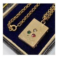 Antique Victorian Rose Gold Filled Trefoil Shamrock Paste Locket Pendant Chain Necklace
