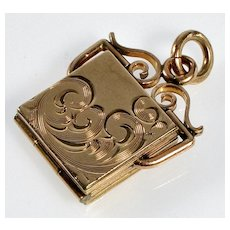 Antique Victorian Gold Filled Engraved 2-picture Locket Pendant