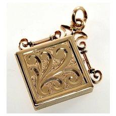 Antique Victorian 14K Rose Gold Engraved 2-picture Locket Pendant