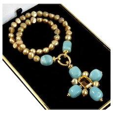 Designer Italian 18K Amazonite Citrine Cross Pendant Enhancer South Sea Pearls Necklace