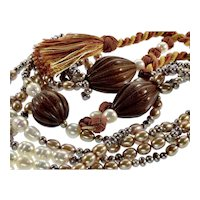 Haute Couture Designer South Sea Tahitian Fresh Water Pearls Tassel Necklace