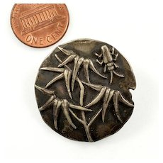 Antique Victorian George W. Shiebler & Co Japanesque Sterling Beetle Bug Insect Button C. 1880-1890 Signed