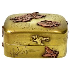 Antique Japanese Meiji Shakudo Birds Dragon Fly Brass pill Box