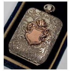 Antique Victorian 14K Gold Crest Sterling 2-Picture Locket Pendant