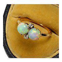 Antique Victorian 14K Rose Gold Diamond Australian Opal Toi Et Moi Ring Size 7 1/4