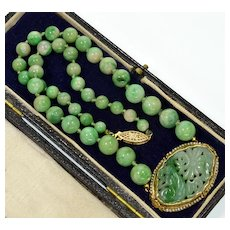Antique Art Deco 14K Jadeite Jade Hand Carved Plaque Bead Seed Pearl Necklace