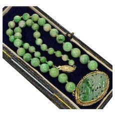 Antique Art Deco 14K Jadeite Jade Hand Carved Plaque Bead Seed Pearl Necklace