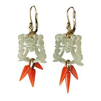 Antique 14K Gold White Jade Salmon Coral Dangle Earrings