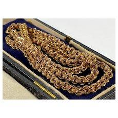 Antique Victorian 10K Gold Fancy Link Chain Necklace Unisex C.1860