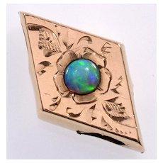 Antique Victorian 10K Rose Gold Black Opal Rhombus Slide Charm For Bracelet 002231