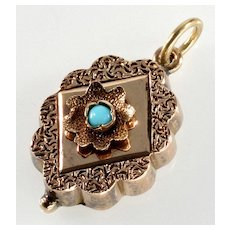 Antique Victorian 14K Rose Gold Turquoise Engraved Pendant
