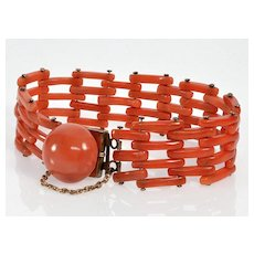 Antique Victorian Salmon Coral Gold Filled Gate Bracelet