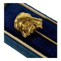 Antique Art Nouveau 14K Gold Sinbad The Sailor Stickpin Tiepin