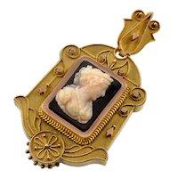 Antique Victorian 18K Gold Etruscan Revival Hardstone Cameo Locket Pendant